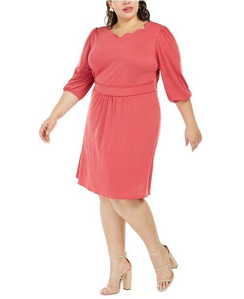 Monteau Trendy Plus Size Scalloped-Neck Dress