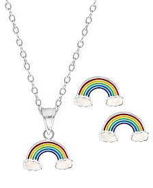 Children's Rainbow Pendant Necklace Stud Earrings Set in Sterling Silver