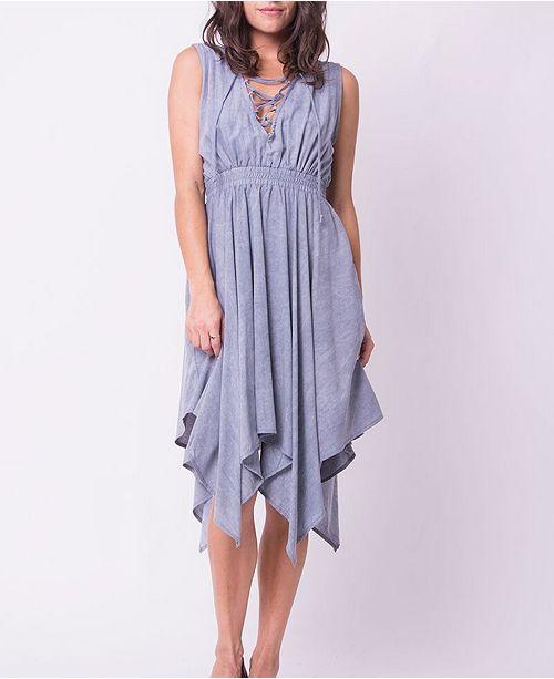 OCIIMI Double V Pleated Lace Up Midi Dress