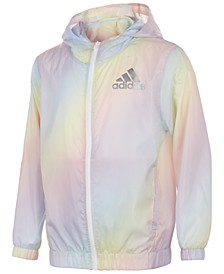 Big Girls Rainbow Hooded Windbreaker
