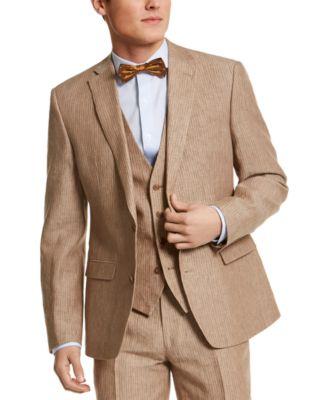 Men's Slim-Fit Tan Pinstripe Linen Suit Separate Jacket, Created for Macy's