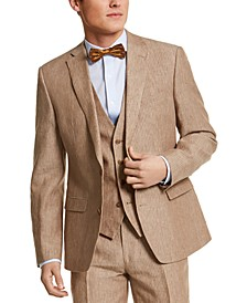 Men's Slim-Fit Tan Pinstripe Linen Suit Separate Jacket, Created for Macy's