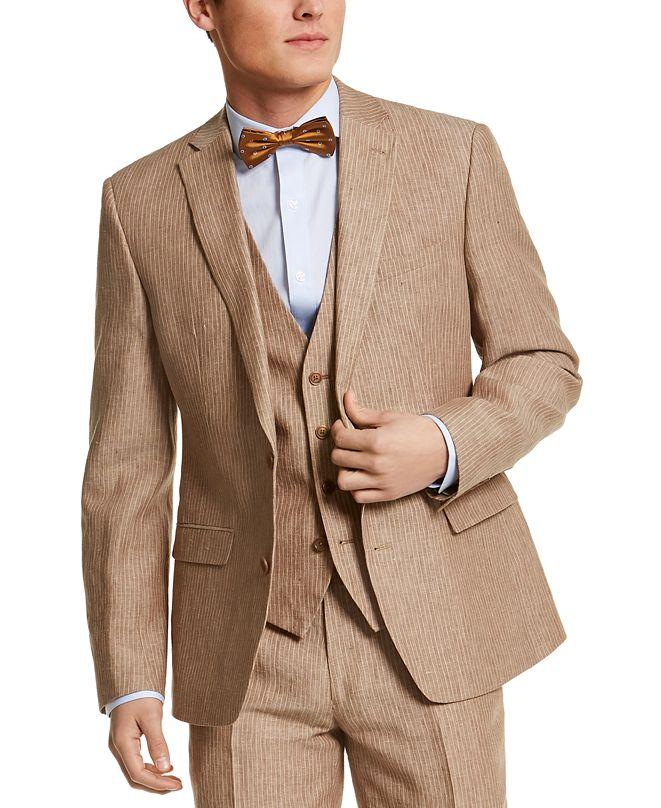 Bar III Men's Slim-Fit Tan Pinstripe Linen Suit Jacket, Created for Macy's