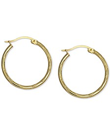 "Small Textured Hoop Earrings in 18k Gold-Plated Sterling Silver, 1"", Created For Macy's"