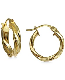 "Small Twist Hoop Earrings in 18k Gold-Plated Sterling Silver, 0.59"", Created For Macy's"