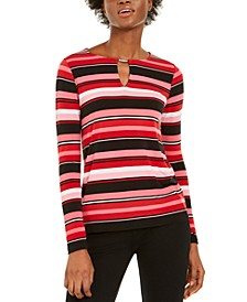 Striped Keyhole Top, Regular & Petite