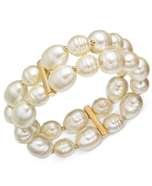 Charter Club Gold-Tone Imitation Pearl Double-Row Stretch Bracelet, Created for Macy's