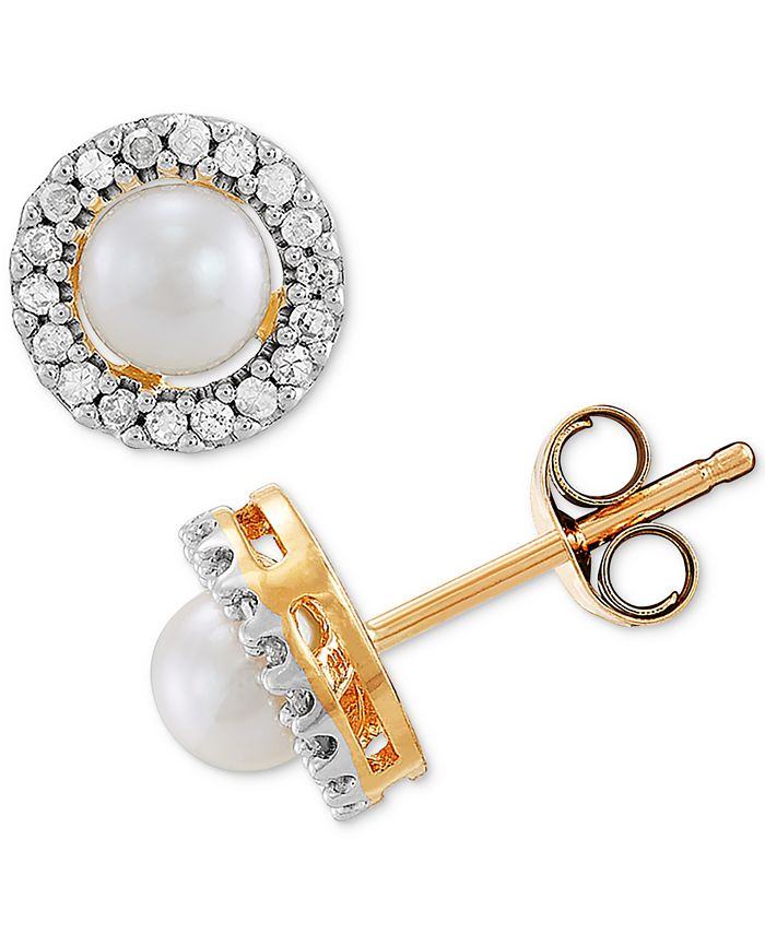 Macy's - Cultured Freshwater Pearl (4mm) & Diamond (1/10 ct. t.w.) Halo Stud Earrings in 10k Gold