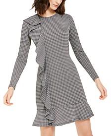 Printed Ruffled Long-Sleeve Dress