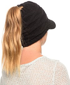 Messy Bun Ponytail Beanie with Visor