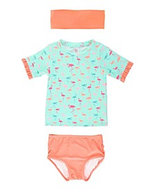 Toddler, Little and Big Girl's Ruffled Rash Guard 2-Piece Bikini Swimsuit Swim Hat Set
