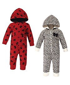 Baby Girl Fleece Jumpsuits, 2 Pack