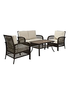 Tribeca 4 Piece Outdoor Wicker Seating Set With Sand Cushions - Loveseat 2 Arm Chairs And Coffee Table