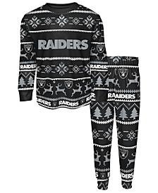 Big Boys Oakland Raiders Wordmark Holiday Pajama Set