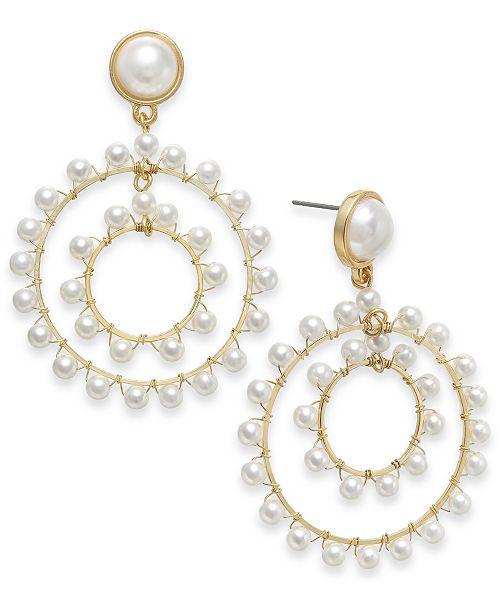 INC International Concepts INC Gold-Tone Imitation Pearl Orbital Drop Earrings, Created For Macy's