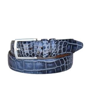 Men's Azurmendi Italian Calfskin Croc Embossed Leather Dress Belt