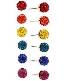 Gold-Tone 6-Pc. Set Multicolor Pavé Fireball Stud Earrings
