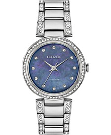 Eco-Drive Women's Silhouette Stainless Steel & Crystal Bracelet Watch 28mm