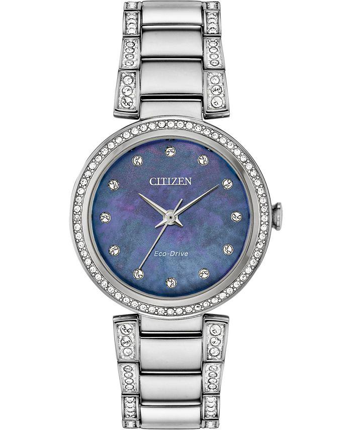 Citizen - Women's Silhouette Stainless Steel & Crystal Bracelet Watch 28mm