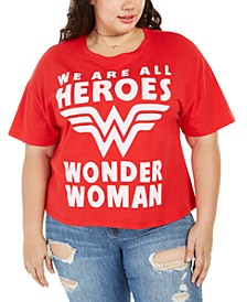 Trendy Plus Size We Are All Heroes Cropped T-Shirt