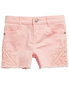 Little Girls Crochet-Inset Denim Shorts, Created For Macy's