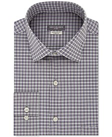 Men's Classic/Regular Fit Flex Collar Stretch Gray Check Dress Shirt