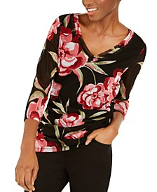 INC Petite Printed Layered-Neck Top, Created for Macy's
