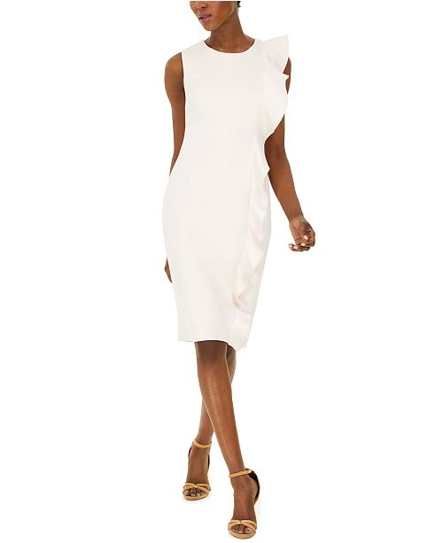 Calvin Klein Ruffled Scuba Sheath Dress