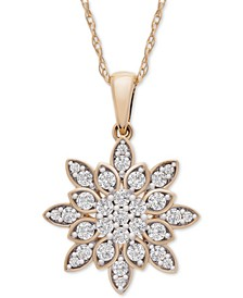 """Diamond Cluster 20"""" Pendant Necklace (1/2 ct. t.w.) in 14k Gold, Created for Macy's"""