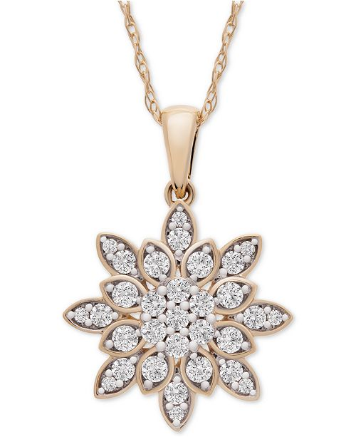"""Wrapped in Love Diamond Cluster 20"""" Pendant Necklace (1/2 ct. t.w.) in 14k Gold, Created for Macy's"""