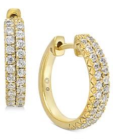 """Diamond Small Hoop Earrings (1/2 ct. t.w.) in 14k Gold, 0.53"""""""