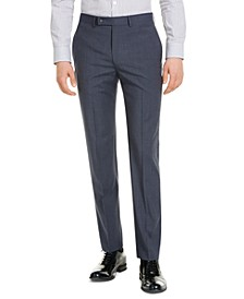 Men's Slim-Fit Performance Stretch Wrinkle-Resistant Mini Grid Dress Pants
