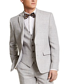 Men's Slim-Fit Gray Plaid Linen Suit Jacket, Created for Macy's
