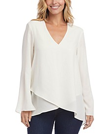 Crossover-Hem Sleeve-Slit Top