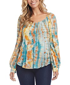 Tie-Dyed Peasant Top