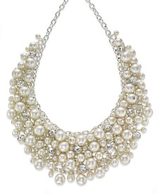 "16"" Glass Pearl Cluster Bib Necklace"