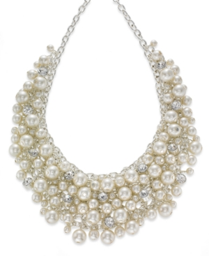 1950s Costume Jewelry Charter Club Silver-Tone Glass Pearl Cluster Bib Necklace $38.15 AT vintagedancer.com