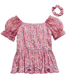 Big Girls 2-Pc. Smocked Floral Top & Scrunchie Set