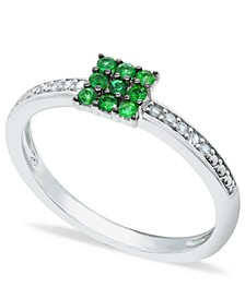 Emerald (1/5 ct. t.w.) and Diamond (1/20 ct. t.w.) Stackable Ring  in Sterling Silver