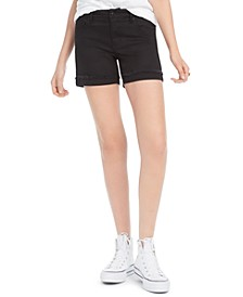 Juniors' High-Rise Cuffed Black Denim Shorts