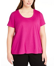 Plus Size Scoop-Neck Organic Cotton T-Shirt
