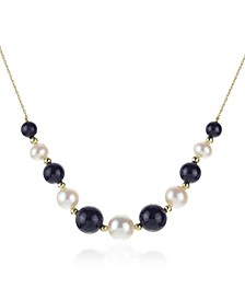 "White Freshwater Cultured Pearls (6.5-9.5mm) with Blue Lapis (27 ct. t.w), and Gold Beads (3mm) 18"" Necklace in 14k Yellow Gold. Also Available with Onyx and Turquoise"