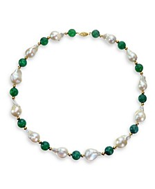 """White Baroque Freshwater Cultured Pearl (12-13mm) with Red Agate (91 ct. t.w) and Gold Beads (4mm) 18"""" Necklace in 14k Yellow Gold. Also Available with Green Agate"""