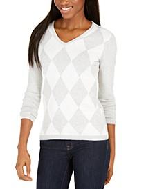 Diamond-Print Cotton Sweater