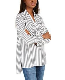 Fold Collar Striped Top