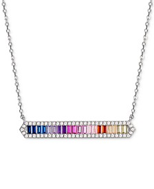 "Cubic Zirconia Baguette Rainbow Bar 18"" Pendant Necklace in Sterling Silver"