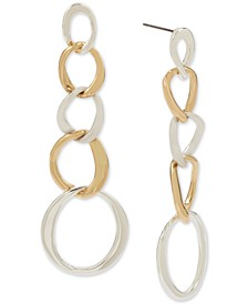 Two-Tone Sculptural Circle Link Linear Earrings