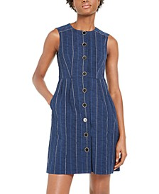 Striped Denim Sheath Dress