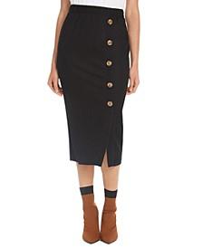 Juniors' Textured-Knit Side-Button Skirt