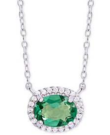 "Green Quartz (1-1/5 ct. t.w.) & Swarovski Zirconia Halo 18"" Pendant Necklace in Sterling Silver"